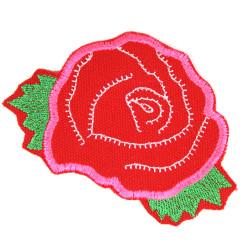 Rosen Flicken rot pink Blumen Patches Applikation Rose Bügelbild Aufbügler Neon Aufnäher Bügelflicken für Erwachsene