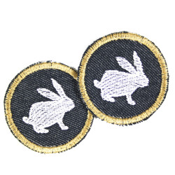 Bunny Iron-on patches mini patch round knee patches bunny visible mending organic jeans for kids animal iron-on application