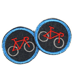 Velo Applikation mini Flicken Fahrrad Bügelbilder rot Fahrzeug Aufnäher Bio Jeans Bügelflicken Denim blau Hosenflicken Aufbügler
