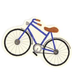 Fahrrad Bügelbild Applikation Velo Patch Flicken zum aufbügeln Fahrzeug Aufbügler blau Bügelflicken Aufnäher Hosenflicken vegan