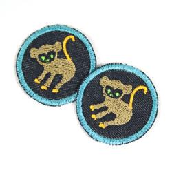 Affen Flicken mini Bügelflicken Aufnäher zum aufbügeln Knieflicken Äffchen Hosenflicken Bio Jeans Patches Tiere Aufbügler Monkey