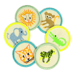 Iron-on patches neon 6 african animals tiger zebra lion monkey crocodile elephant small round appliques