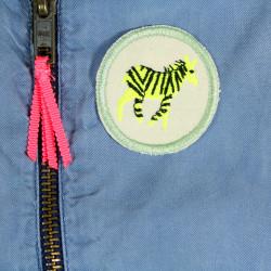 Iron-on patches light neon 6 wild animals tiger zebra lion monkey crocodile elephant