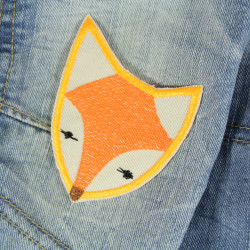 fox iron on patches neon colors applique textile repair patches organic cotton