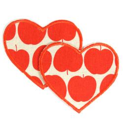 Hosenflicken Herz rot Apfel Flicken Aufnäher 2 Bügelflicken Aufbügler Knieflicken zum aufbügeln Applikation 2 große Patches Obst