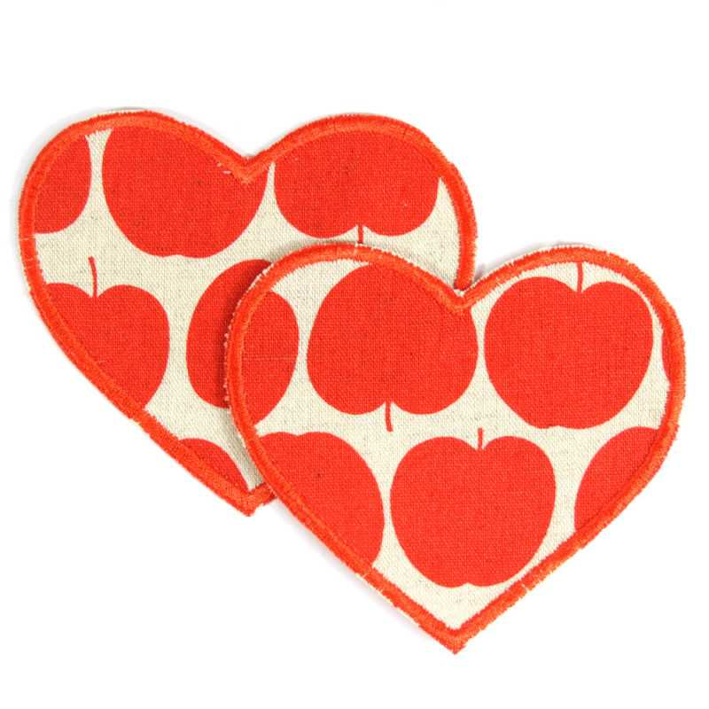 Iron on Patch Heart red Apple knee Patches 2 Iron-on repair-Patches Application 2 large patches of fruit visible mending