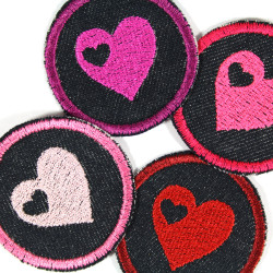 Iron-on patches Heart Set 4 small patches Hearts knee-Patches iron-on repair-patches with hearts organic denim Trouser patches