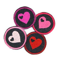 Bügelbilder Herz Set 4 Flicken Herzchen Aufbügler kleine Bügelflicken rund mit Herzchen Bio Jeansflicken Patches Hosenflicken