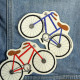 iron-on patch bicycle red appliques knee patches vehicle iron on badges velo
