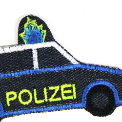 iron on patch Police Car organic jeans applique badge for children