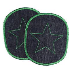 Bügelflicken Set Sterne XL organic Denim Hosenflicken Bio Jeans Aufnäher große Knieflicken Applikation Stern Flicken grün vegan