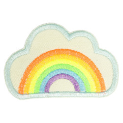 Flicken Regenbogen in Wolke Bügelbild neon Aufbügler hell Bio Bügelflicken