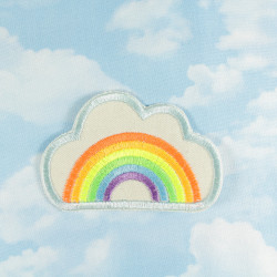 iron-on-patch rainbow clouds embroidery on organic cotton neon badges applique