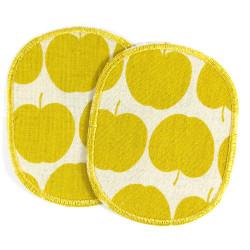 Flicken Apfel Bügelflicken gelb Hosenflicken Äpfel 2 Aufbügler Knieflicken 10x8 cm Baumwoll-Leinen