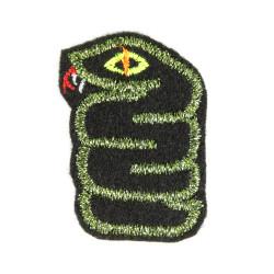 Glitzer Schlangen Flicken Aufbügler Patch mini Bügelbild Reptil mit neon Auge Schlange in grün Metallic auf schwarz Aufnäher