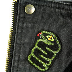 Glitter Snakes Patch iron on Patches mini spine pattern reptile with neon eye snake in green metallic on black patches accessori