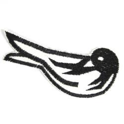 Bügelbild Schwalbe Aufnäher Vogel schwarz weiß Patch Flicken Aufbügler Bügelflicken für Erwachsenen als Accessoire Flicken