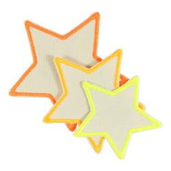 Flicken Sterne 3 Aufbügler neon auf Bio Baumwolle Bügelbilder als Bügelflicken