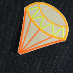 Patch Diamond Neon iron-on Patches Orange Bright Adult Organic Patches Diamonds repair Patch Pants Patch Organic Knee Patch