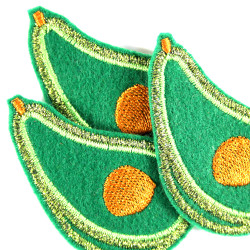 Glitter avocado patch iron on vegan repair patches for iron on metallic applique iron on patch green avocado accessory