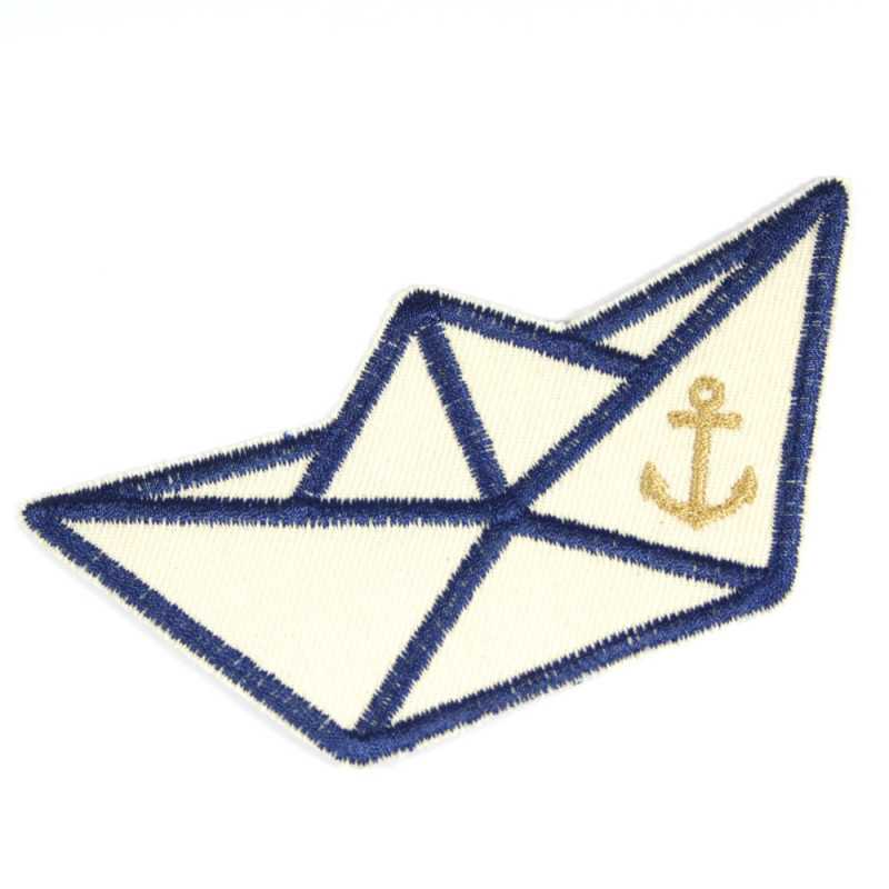 Patch folding boat maritime organic light iron-on patch knee patch paper boat nautic boat application ship vegan repair patch