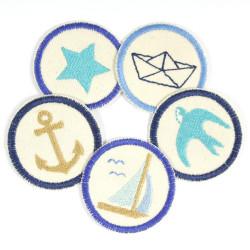 Patches nautic Flicken organic Paket 5 kleine Hosenflicken mini Aufnäher zum aufbügeln Schwalbe Stern Faltboot Segelschiff Anker