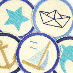 Iron-on Patches nautic badges organic package small pants patches repairpatches swallow star folding boat sailing ship anchor 5