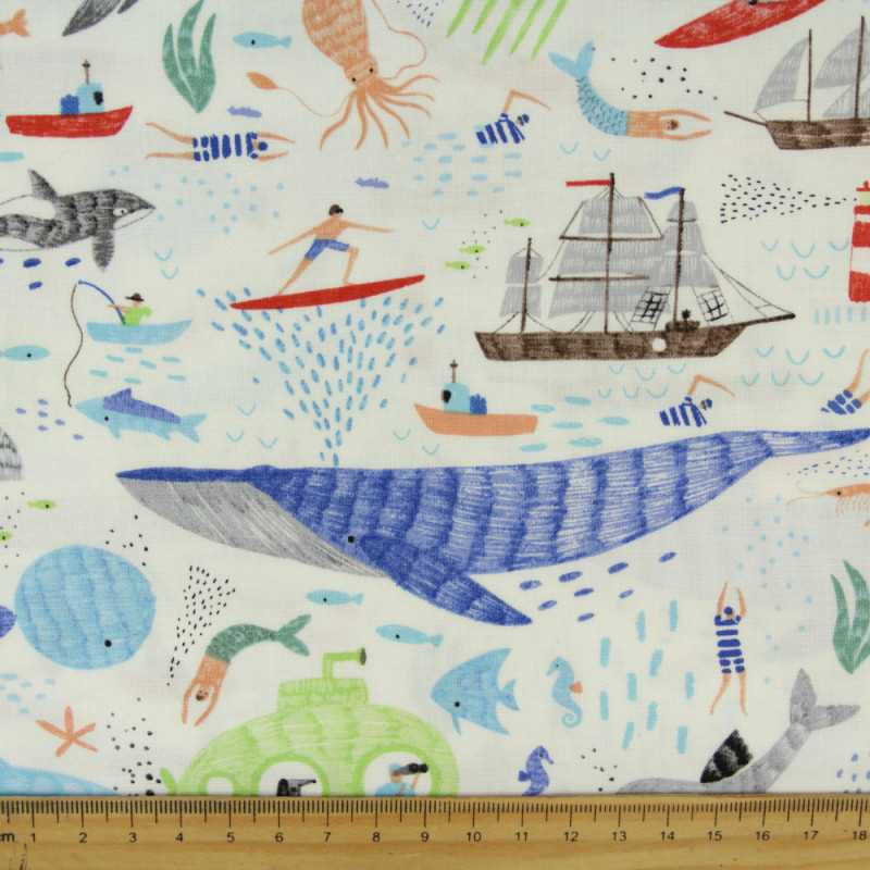 nautic stella fabrics white maritim cotton fabric fishes in ocean ship and mermaid in sea