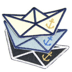 Ship patching paper boat set maritime patches paper ship iron-on knee patches folding boat jeans repair patch with anchor