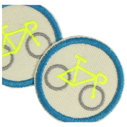 Bike Iron-on patch repair patch Velo Iron-on knee patch mini Neon Yellow Set badges appliques round organic trouser patches vega