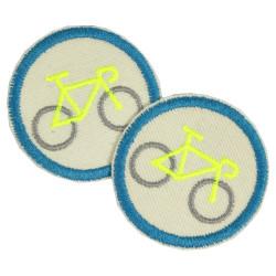 Fahrrad Aufnäher Applikation Velo Bügelbild Neon Gelbe Bügelflicken Set Mini Patches Set Flicken rund organic Hosenflicken vegan