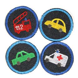 Bügelbilder Auto Feuerwehr Krankenwagen 4 Flicken Aufbügler kleine Bügelflicken rund Bio Jeansflicken Patches Hosenflicken