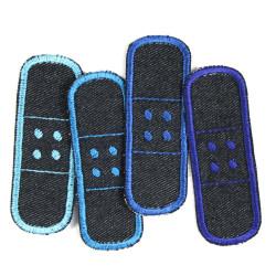 Flickli Pflaster Bügelflicken Jeans einzel Set 4 Flicken zum aufbügeln blau