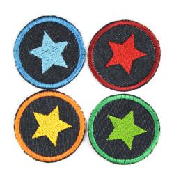 Bügelbilder mit Stern 4 Flicken Aufbügler kleine bunte Bügelflicken rund Bio Jeansflicken Patches Hosenflicken