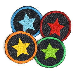 Iron-on patches stars Set 4 knee Patches small iron-on repair-patches organic denim Patches Trouser patch