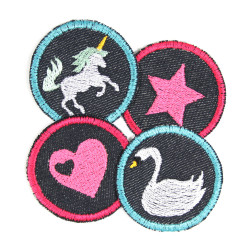 Iron-on patches heart swan star unicorn 4 knee Patches small iron-on repair-patches organic denim Patches Trouser