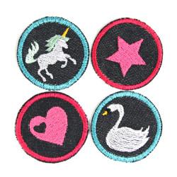 Bügelbilder 4 Flicken Einhorn Herz Stern Schwan Aufbügler kleine Bügelflicken rund Bio Jeansflicken Patches Hosenflicken