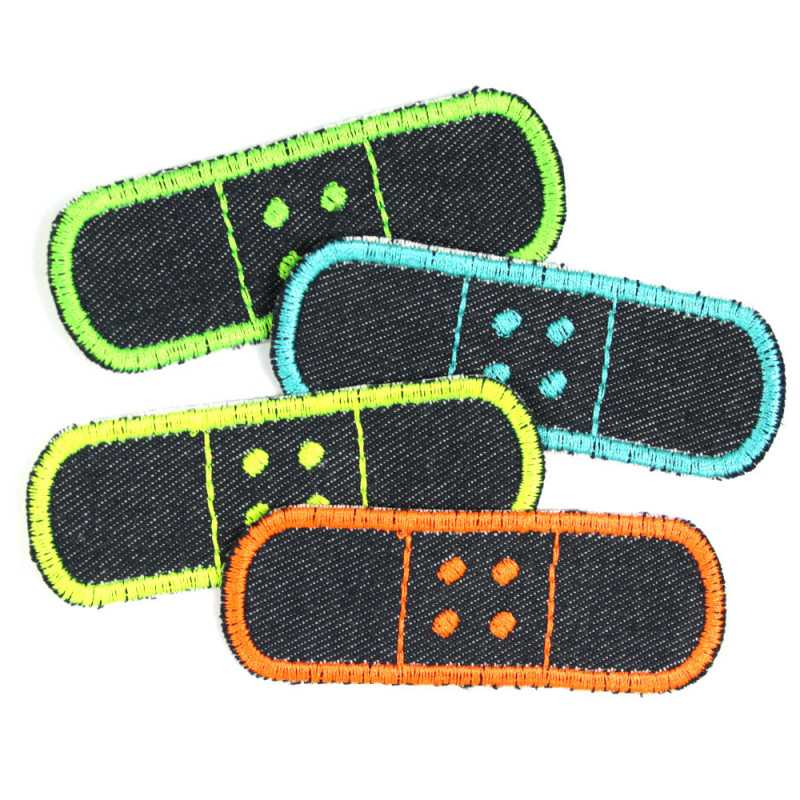 iron on patches organic jeans plaster blue neon colorful appliques set contains 4 denim appliques
