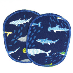 iron-on Patches shark Set Iron-on Knee-appliques 2 fish 10x8 cm for kids