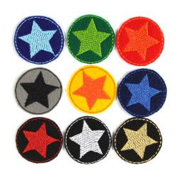 Bügelflicken 9 mini Flicken Stern Aufbügler bunte Sterne Hosenflicken patches