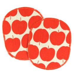 Hosenflicken Apfel Set 2 Knieflicken rote Äpfel große Flicken Obst Motiv Bügelflicken für Kinder XL Aufbügler Packet