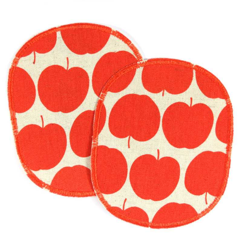 Trouser Patch Apple Set 2 Knee Patches Red Apples Large repair-patch Fruit Motif Iron-on Patch for Kids XL