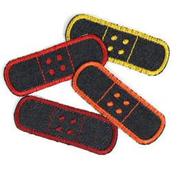Pflaster Bügelflicken Set rot orange gelb Hosenflicken zum Aufbügeln 4 Jeansflicken klein Knieflicken Aufnäher Aufbügler Pack