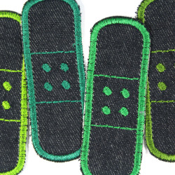 iron on patches organic blue jeans plaster single 4 denim appliques green trim