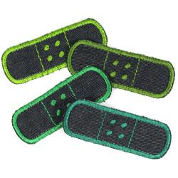 Flickli Pflaster Bügelflicken Jeans einzel Set 4 Flicken zum aufbügeln grün