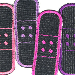 Iron on Patch Set of 4 repair Patches organic Denim appliques small knee patches as Trouser badges Red Orange Yellow