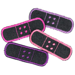 Flicken Pflaster Set 4 Bügelflicken Jeans Patches zum Aufbügeln als Hosenflicken rot orange gelb