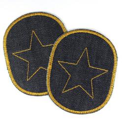 Flicken Set mit Stern gelb 2 Bio Jeansflicken dunkelblau Knieflicken für Kinder Sterne Hosenflicken Aufbügler Bügelflicken
