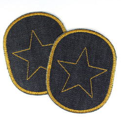 iron on Patch Set with star yellow 2 organic jeans patch dark blue knee patches for kids stars trouser patch repair patches