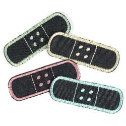 Flicken Pflaster Bügelflicken Set Pastellfarben zum Aufbügeln 4 Hosenflicken Pack Knieflicken Bio Jeansflicken Aufnäher